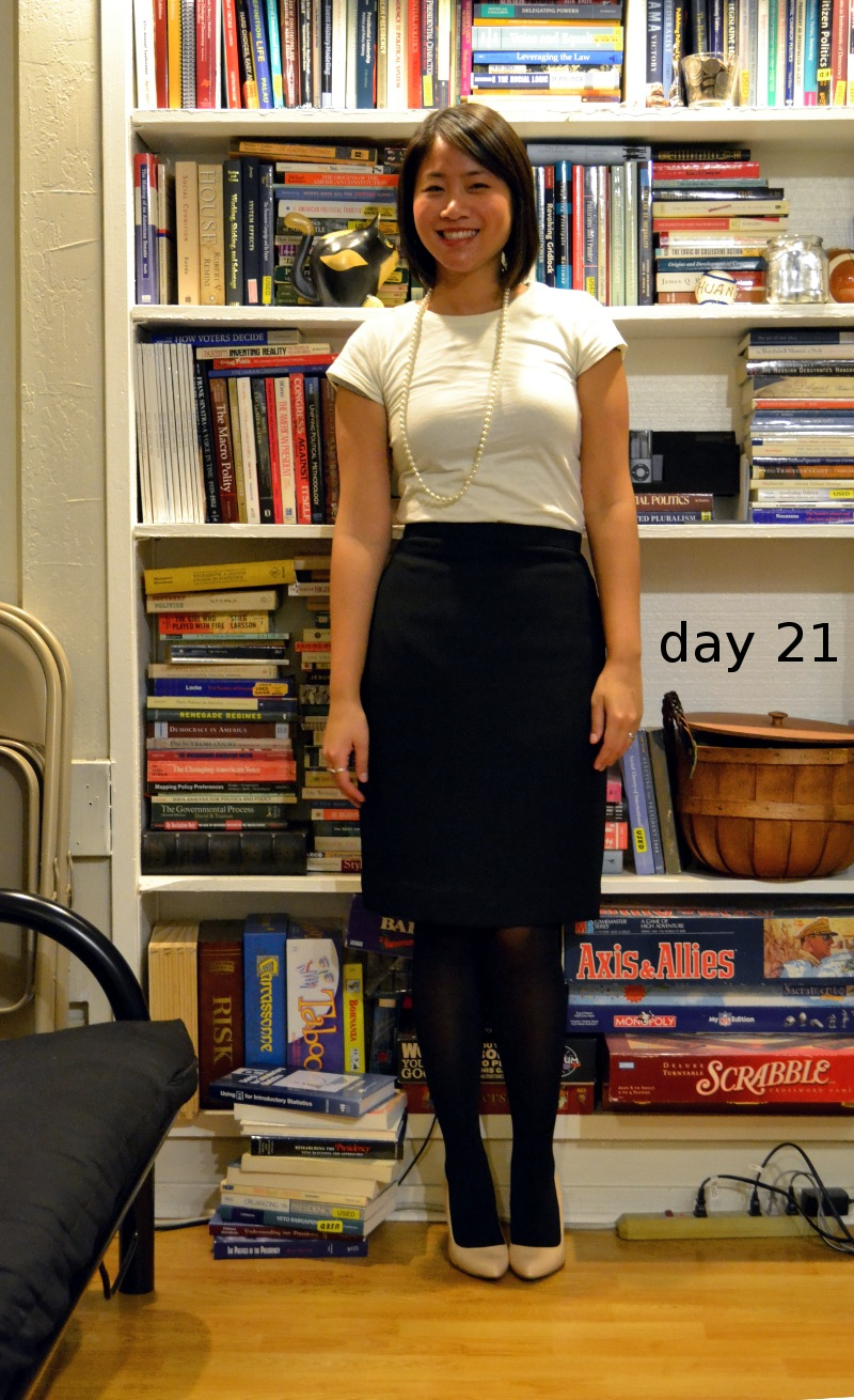 office fashion blogger angeline evans the new professional swapped pencil skirt enzo angiolini nude pumps t-shirt faux pearls dark tights