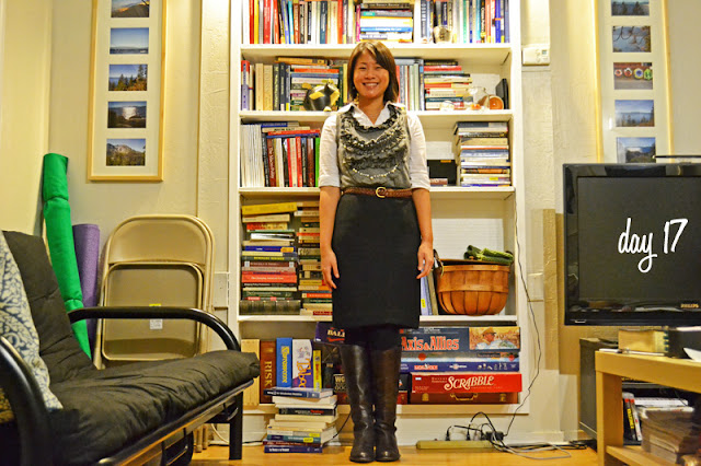 office fashion blogger angeline evans the new professional gray ruffle knit dress pearls swapped black pencil skirt franco sarto black boots braided belt