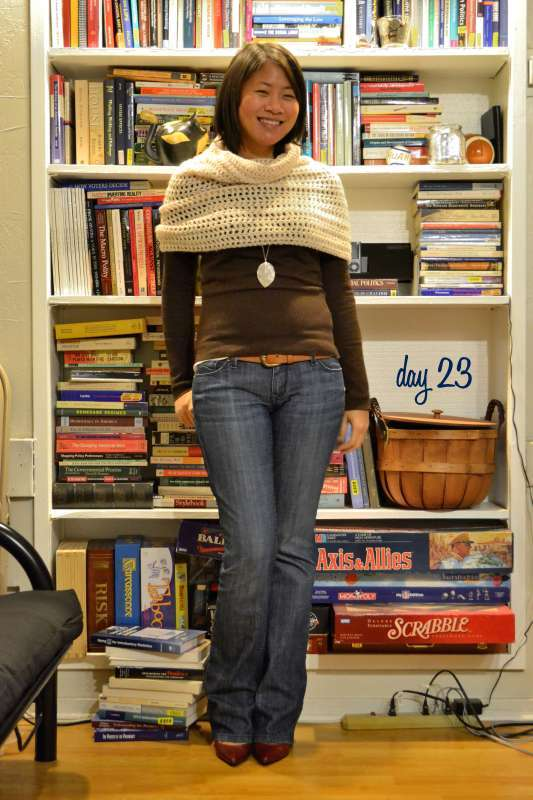 office fashion blog the new professional angeline evans business casual gap sweater rockabilly jeans diy cowl crocheted