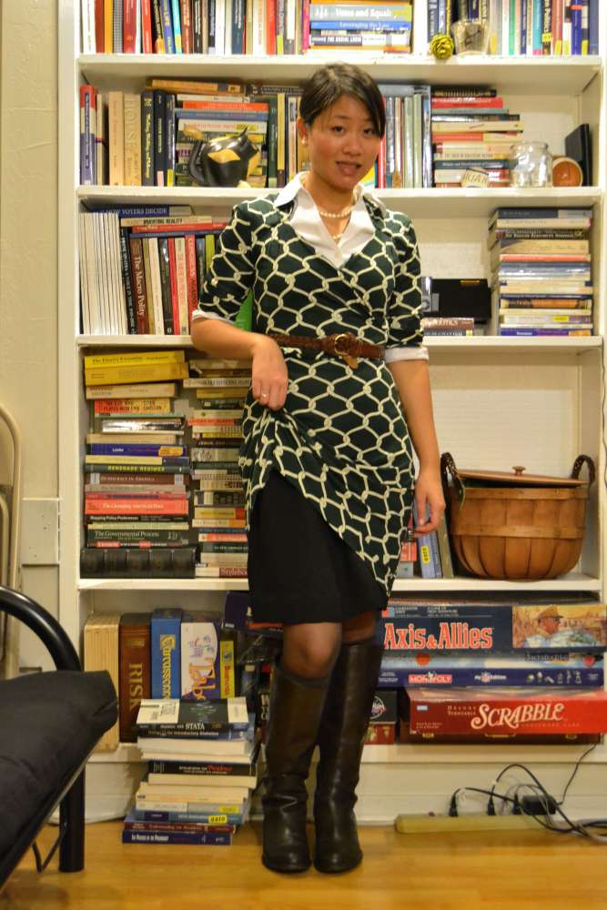 sacramento office fashion blogger the new professional angeline evans banana republic dress layered franco sarto boots business casual