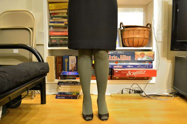 sacramento office fashion blogger angeline evans the new professional swapped black pencil skirt enzo angiolini peep toes green cable knit tights simply vera wang kohls