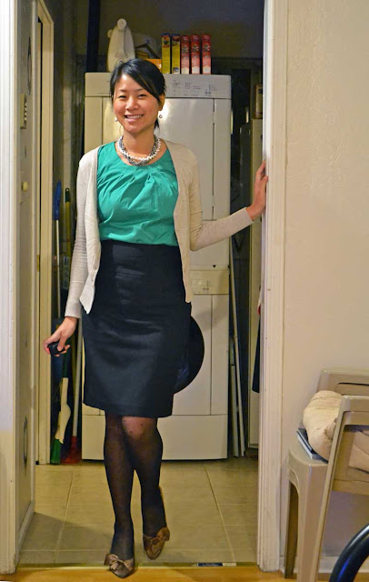 sacramento office fashion blogger angeline evans business casual the new professional ann taylor top hm cardigan banana republic pencil skirt nine gold pumps target polka dot tights the great american apparel diet