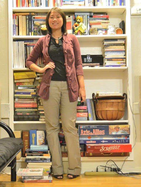 sacramento office fashion blogger angeline evans the new professional business casual banana republic factory trousers gap top three dots anthropologie knotted open cardigan enzo angiolini peeptoe pumps american eagle chain necklace
