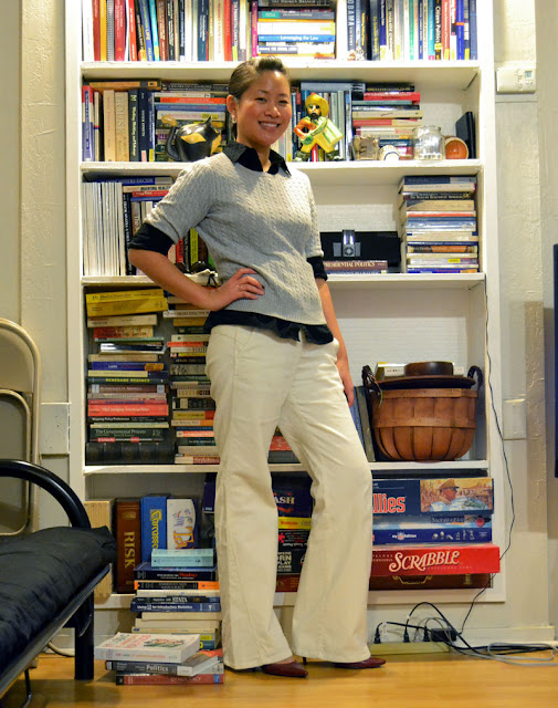 sacramento office fashion blogger angeline evans the new professional business casual white ann taylor loft corduroy trousers marisa target top gap sweater red heels