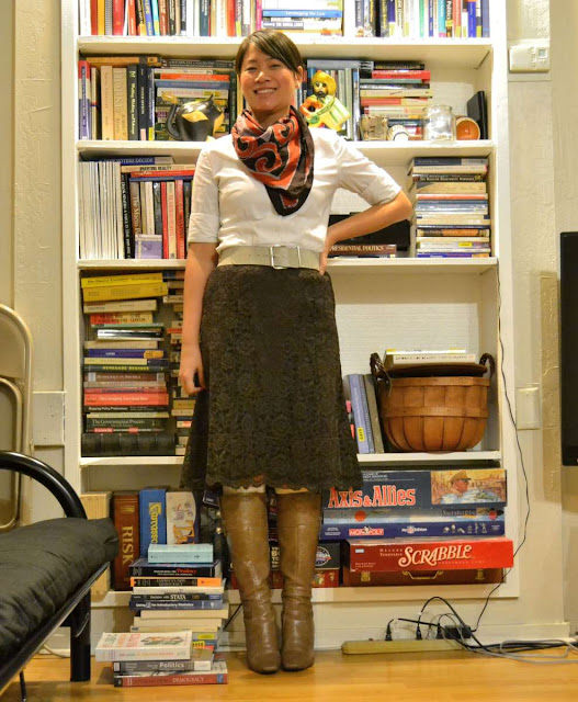 sacramento office fashion blogger angeline evans the new professional blog business casual macys shirt vintage scarf old navy brown lace skirt nine west boots belt