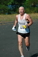 Tom Osler near finish of recent 4 mile race