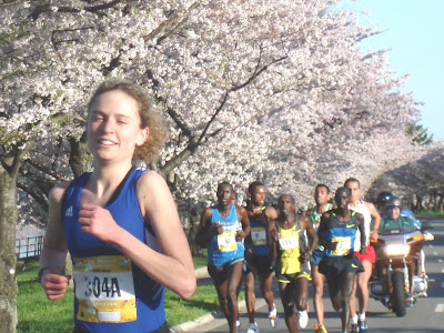 Emily in elite Women pack Cherry Blossom run. George Banker photo