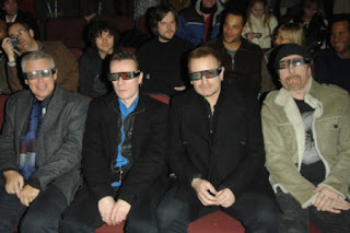U2 3D with Bono wearing 3D glasses