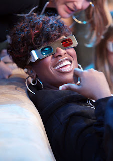 Missy Elliott watches her video Ching-a-Ling in 3-D