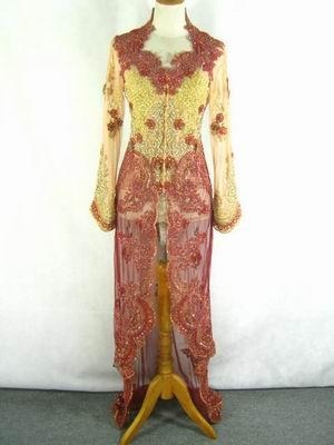 kebaya long red heart with tulle material tile sequins and long kebaya