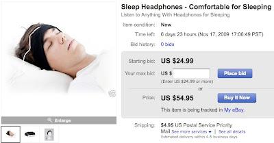 SleepPhones Sleep Earphones eBay Auction