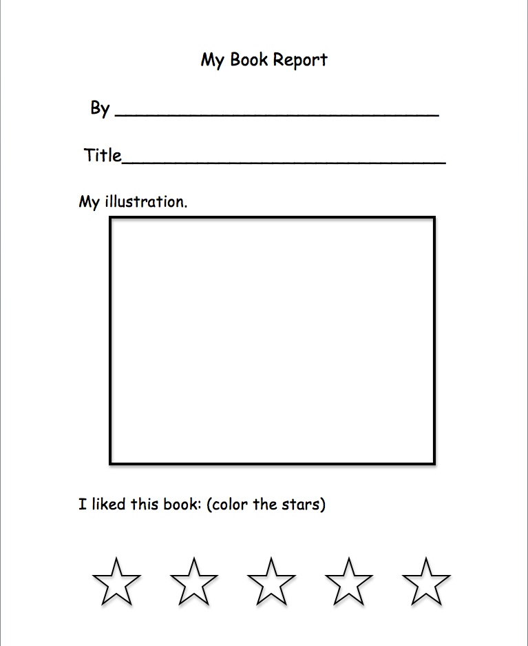 Book review form for kindergarten – Simple Book Report Forms
