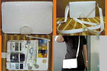 WHPO croco putih dgn Tali panjang / selempang & tali pendek