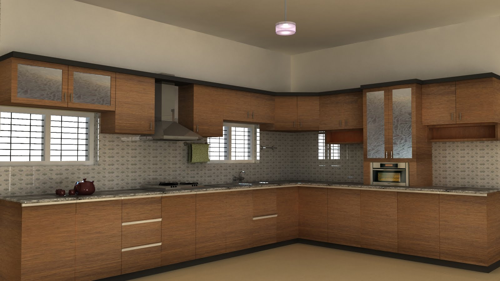 Living room design model living room interior designs for Modern kitchen designs in kerala