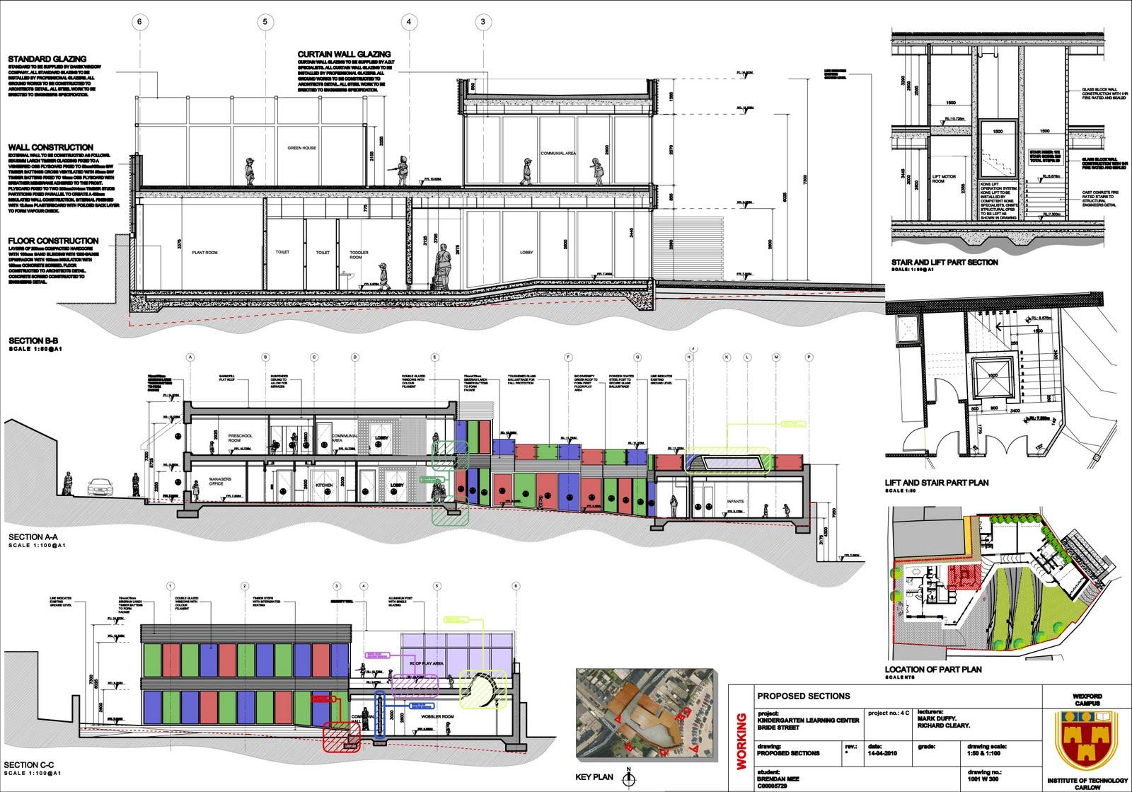 Kindergarten Plan Elevation Section : Brendan mee kindergarten sections