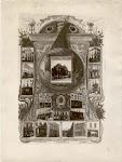 Zwart-witfoto van collage, gemaakt door J. Verwest, als propaganda voor SM Vooruit, 1904.