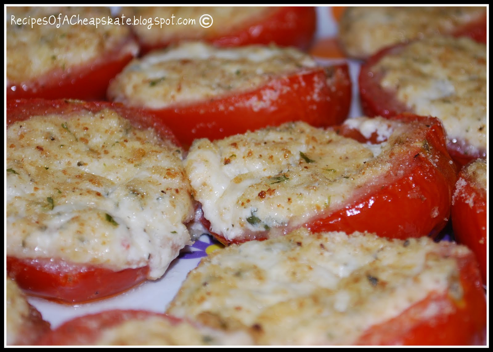 Recipes of a Cheapskate: Cheese Stuffed Tomatoes--Friday Feature