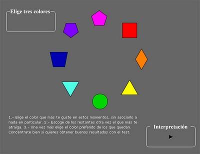 Pantalla inicial del test de 8 colores