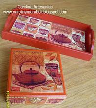 Caja de Te y Bandeja madera