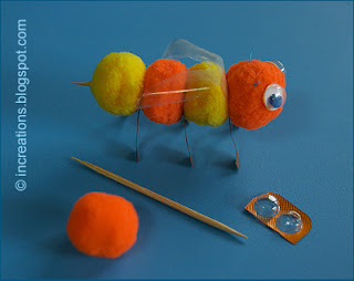 Bee: pompoms, toothpick, blister pack