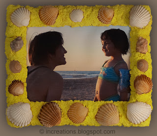 Picture frame: papier-mache with seashells