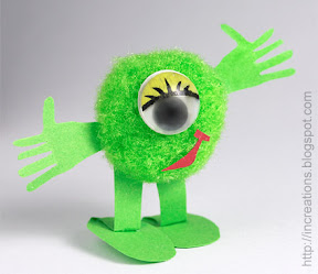 Mike Wazowski made of a pompom