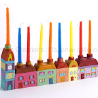 Hanukkah Menorah with houses