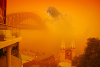 Sydney Harbour in dust storm