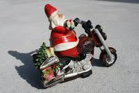 Santa Claus on his Harley Davidson