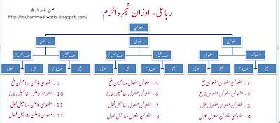 urdu poetry, urdu ghazal, ilm-e-arooz, taqtee, رباعی اوزان شجرہ اخرم, Rubai