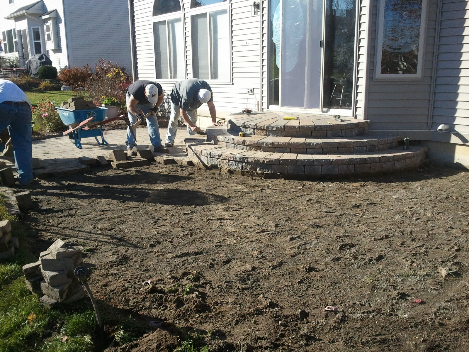 ... This Brick Paver Repair And Restoration With A Complete Re Installation  Of The Paving Stone Patio. Due To The Severe Pitch Back To The Home  Foundation, ...