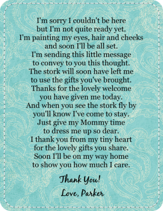 baby shower thank you poems from baby