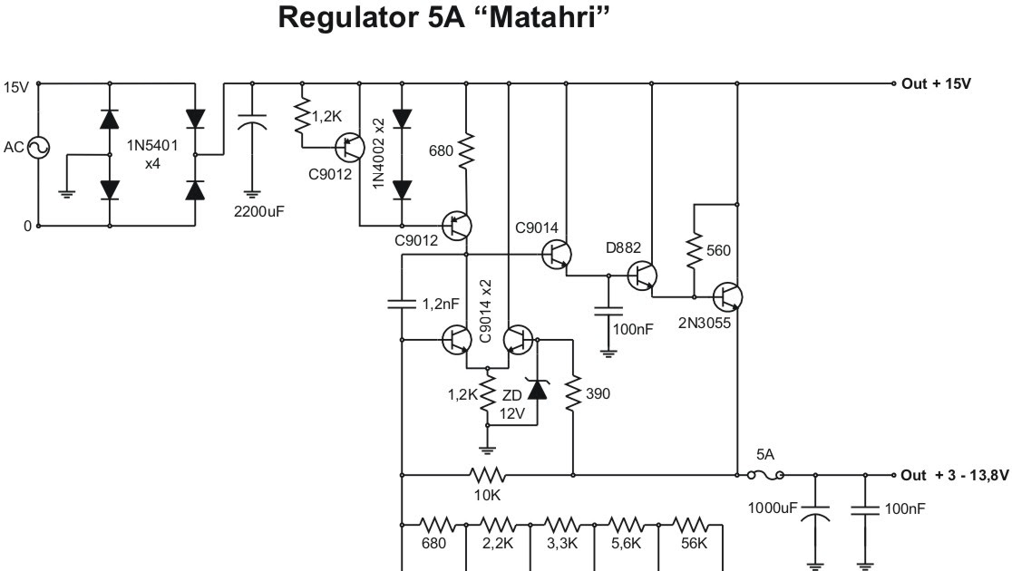 skema power supply regulator  skema regulator 5a matahari