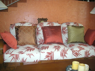 silk pillows on rattan furniture