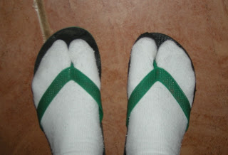 socks and flip-flops