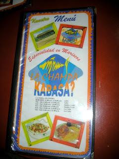 Kabasa restaurant menu, La Ceiba, Honduras