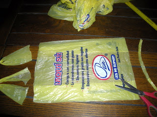 Cut off ends of bag