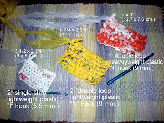 plastic bag crocheted swatches