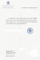 dalla Città del Vaticano - Segreteria di Stato