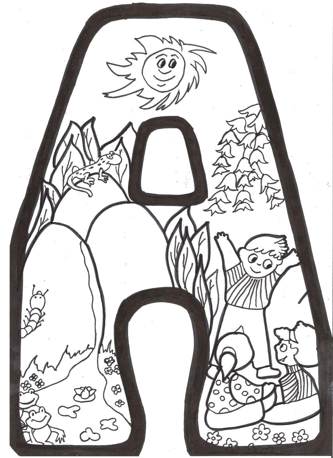 Letras primavera para colorear - Dibujos para colorear - IMAGIXS