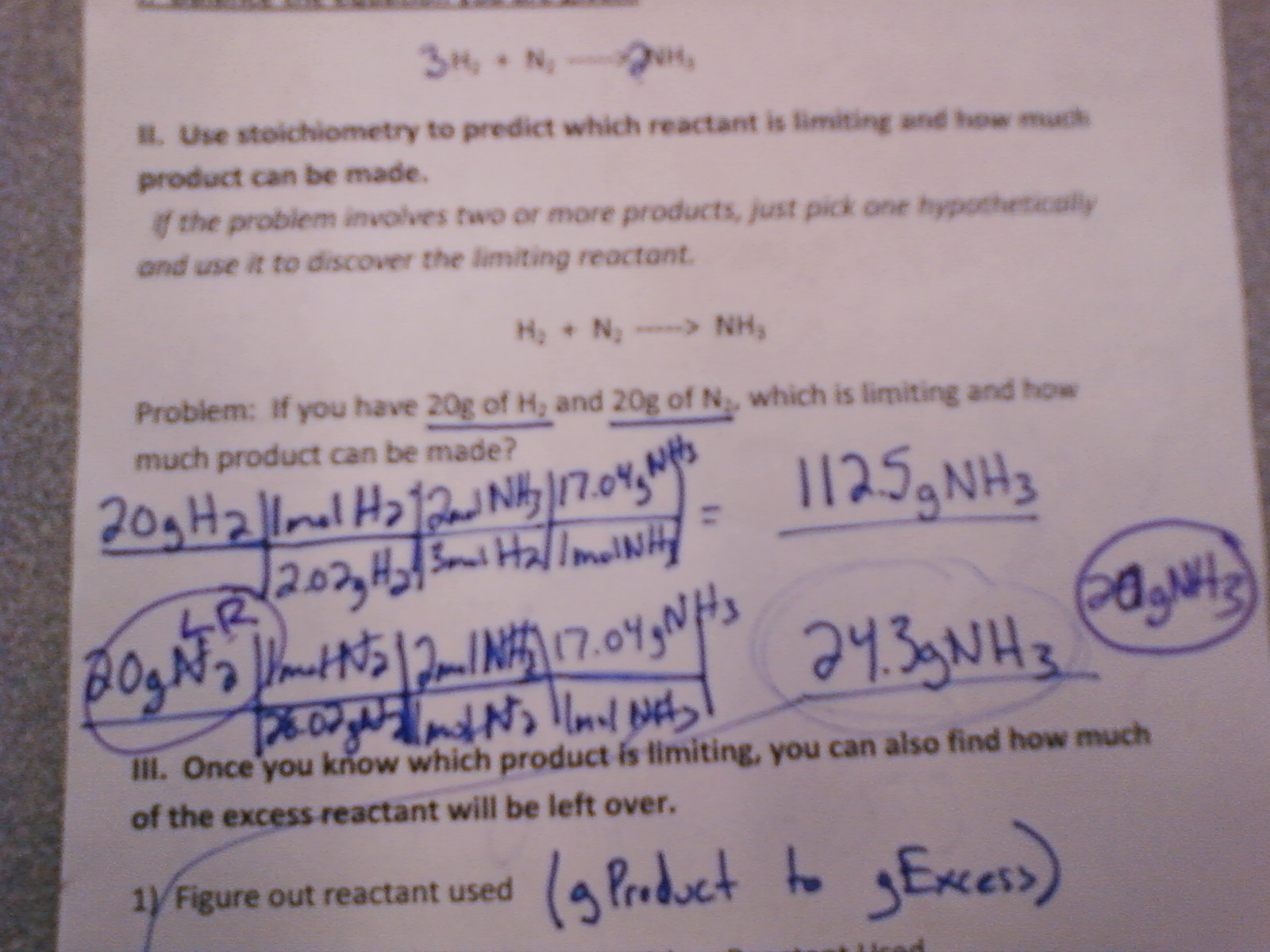 Chemistry Period 1 February 2011 – Limiting Reactant Problems Worksheet