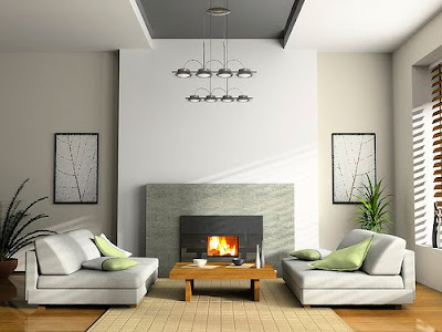Home+interior+with+fireplace+and+sofas+3D+rendering