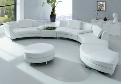 Modern Furniture White Leather Sectional Sofa with Ottoman and Mini Bar table Set3