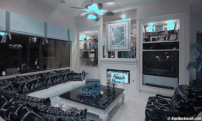 living room design with black and blue lamps