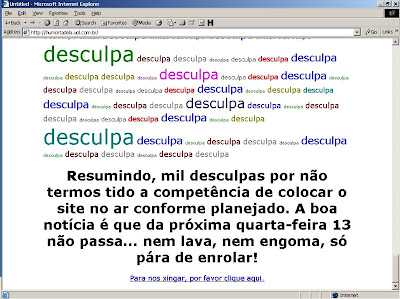 Screenshot do verdadeiro site do Humortadela, que está com problemas.