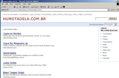 Screenshot de falso site do Humortadela, aberto ao se digitar www.humortadela.com.br.
