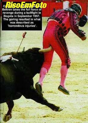 Touro encontra toureiro em região delicada