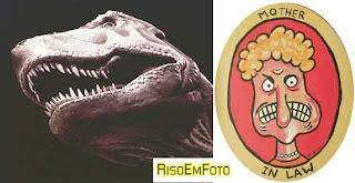 Imagens satirizando as sogras nas piadas: um T-Rex e uma Charge