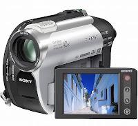 Foto da Câmera Filmadora Digital Sony DCR-DVD 108 com vista do visor de LCD