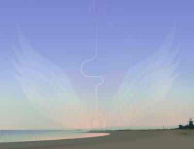 wallpaper fundo de tela com praia e cisne estilizado